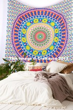 "Mandala Tapestry indian handicraft 100% cotton fabric Queen 85"" bedspread printed bedsheet art wall decor hangings Tapestries"