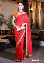 Red color cotton silk saree with fancy lace work border