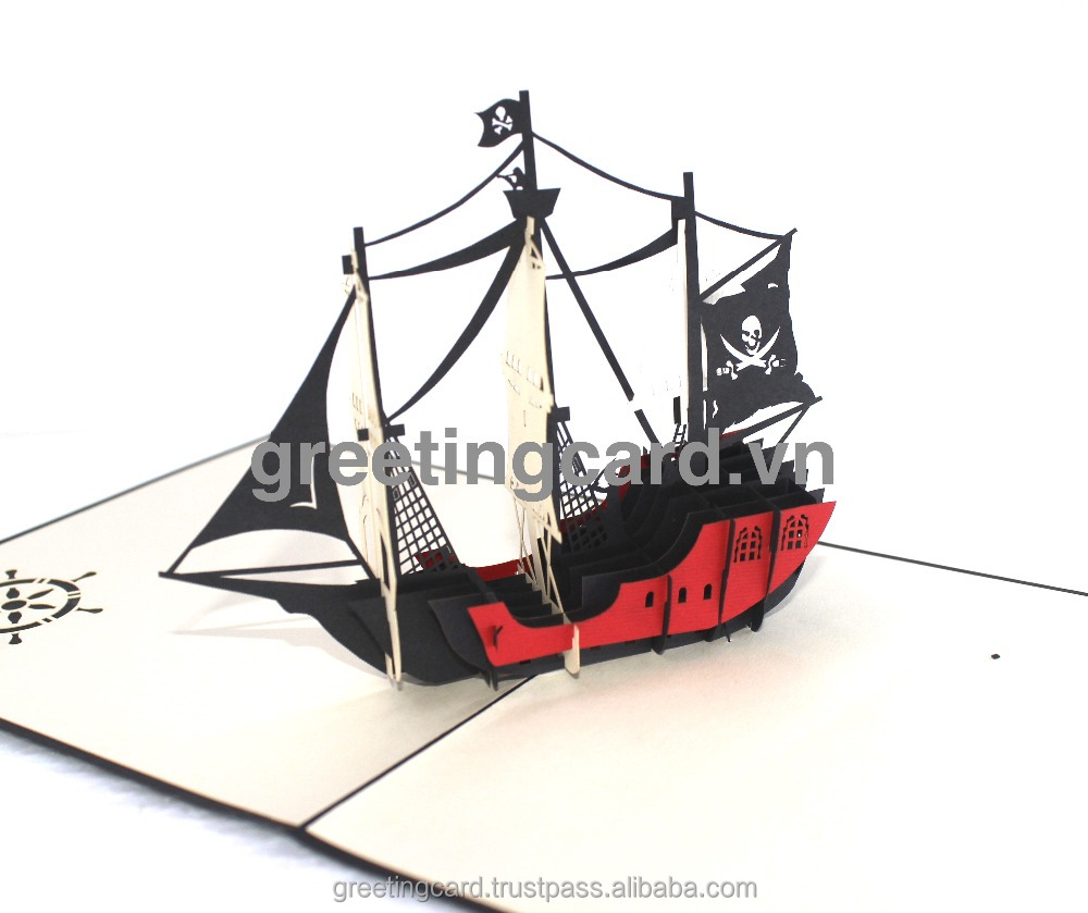 Pirate ship-3d card- pop up card -handmade greeting card