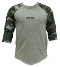 Customizable Elongated t shirt assorted colors quality long 3/4 sleeve raglan t-shirt camouflage baseball t shirts wholesale