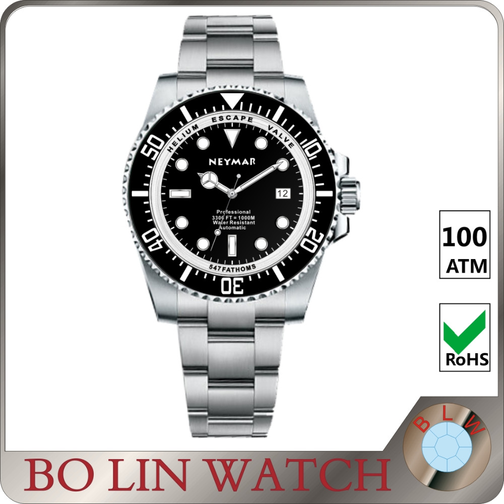 200 atm waterproof watch, dive watch, stainless steel automatic diver watch