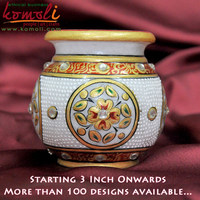 Marble kalash lota - Hand Painted - 3 inch - Customized Sizes - Custom Painted indian wedding favors wholesale marble gift items