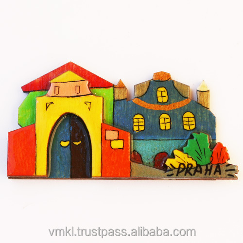 Souvenir magnets with Prague houses or any your city, plywood cities fridge magnet, fridge magnet wholesale, GH2-23