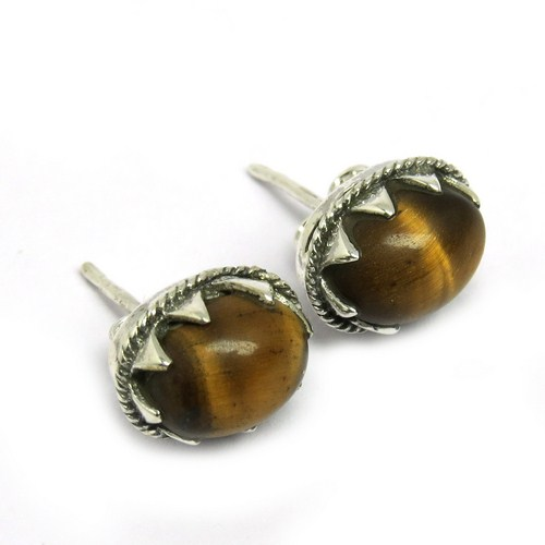 Large Precious !! Tiger Eye 925 Sterling Silver Stud Earring, 925 Sterling Silver Jewelry Wholesale, Gemstone 925 Silver Jewelry