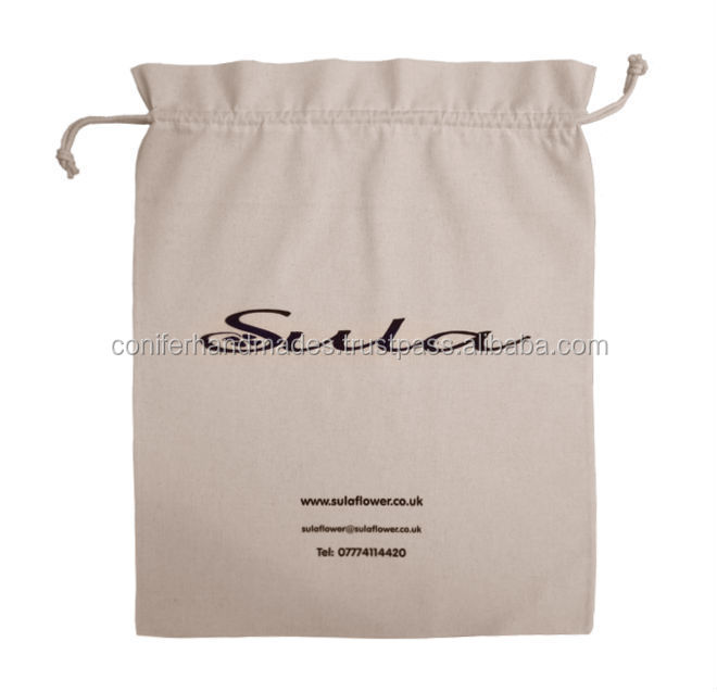 custom logo printed cotton drawstring dust bags suitable for packaging hand bags and purses available in assorted sizes