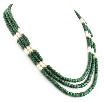 3 Strand Emerald with Pearl 3-4mm Gemstone Beads Necklace In Xiamen