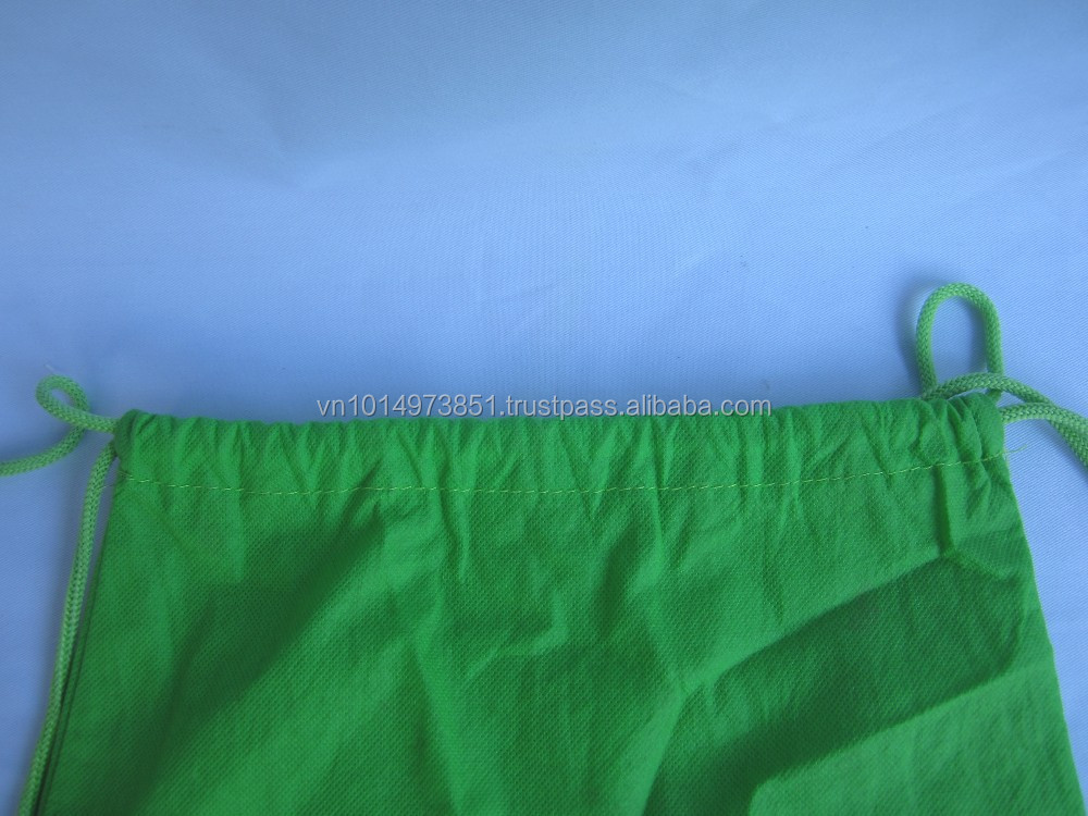 Bright Green Drawstring Cotton Bag For Book
