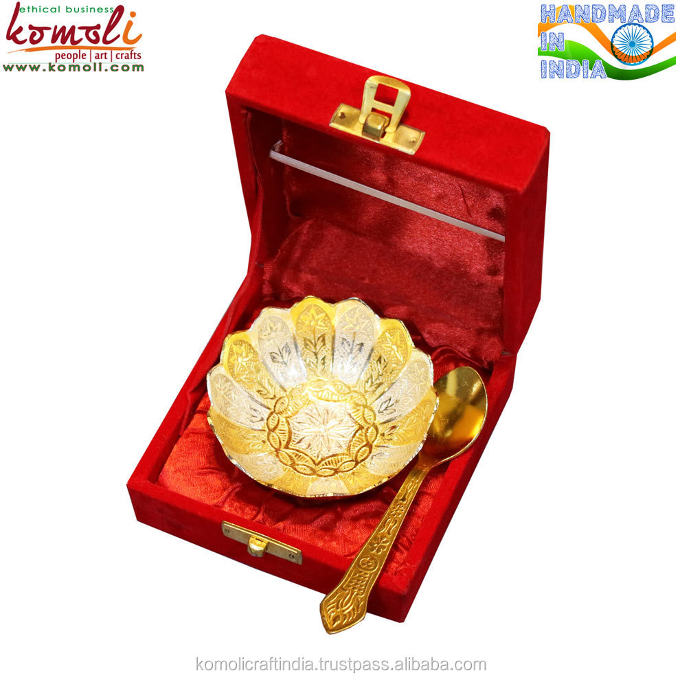Two Tone Flower Design Silver Plated Indian Wedding Gifts For Guests