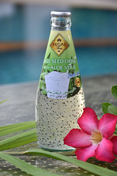 Basil Seed Drink with Aloe Vera in glass bottle (290ml)