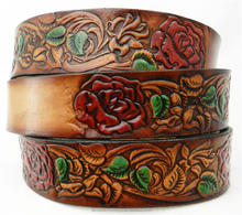 Painted roses leather name belt WESTERN COW BOY BELT