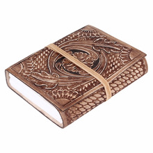 Handmade Embossed Leather Journal Diary notebook, unlined paper sketch book for gift him or her