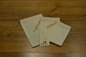 Unbleached Parts Bag with Yellow Drawstring + Red Hem