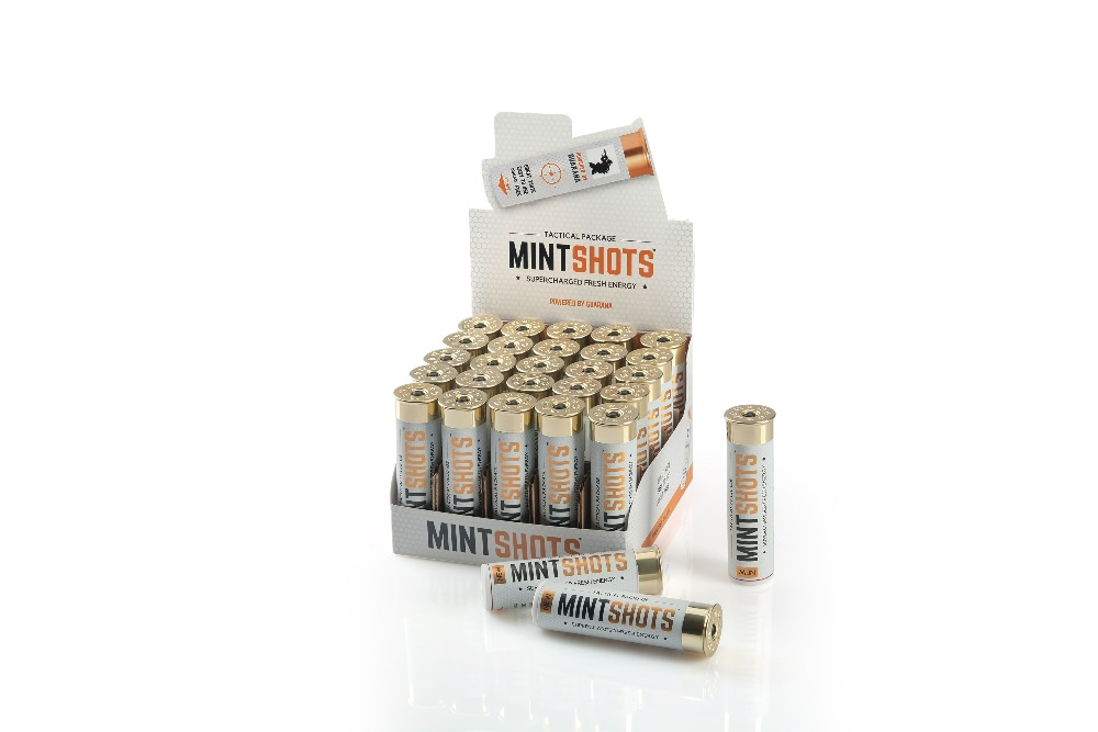 MINTSHOTS WHITE in Tactical pack with stevia and guarana extract