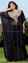 Black and Grey color family Kaftan in Georgette fabric with Machine Embroidery, Sequence, Stone, Patch, Lace,Dubai Kaftan