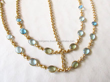 22 Ct Gold Plated Small Colored Stones Chain Handmade Statement Headgear
