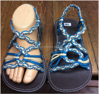 Dobbytex DBTS27 Blue-White Twist Handmade rope Sandals/Shoes Hill tribe / Hmong / Summer / African