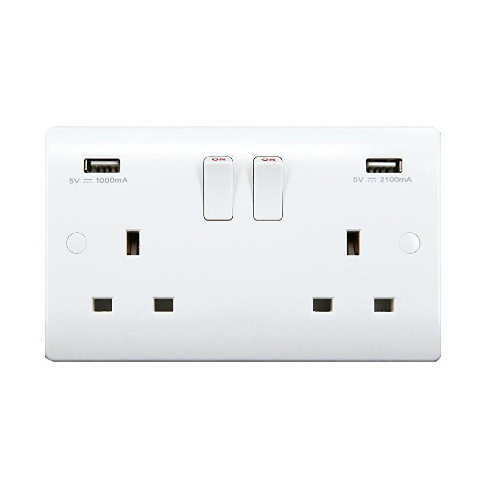 Sinoe VN270 BS Certified 13A 2 Gang Switched Wall Socket & 3.1A USB Outlets With Screw Covers (12 yrs Guarantee) Tested by Inter