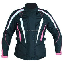 New Womens Black Waterproof Cordura Motorcycle / Motorbike Protective Jacket FC-10712