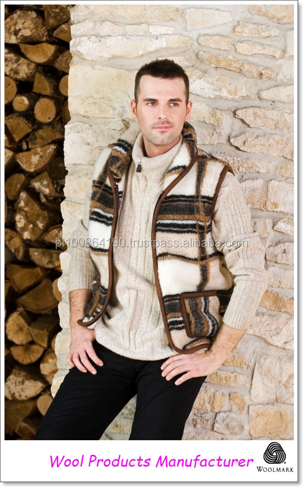 Wool VEST with colar 100% Merino coat wool