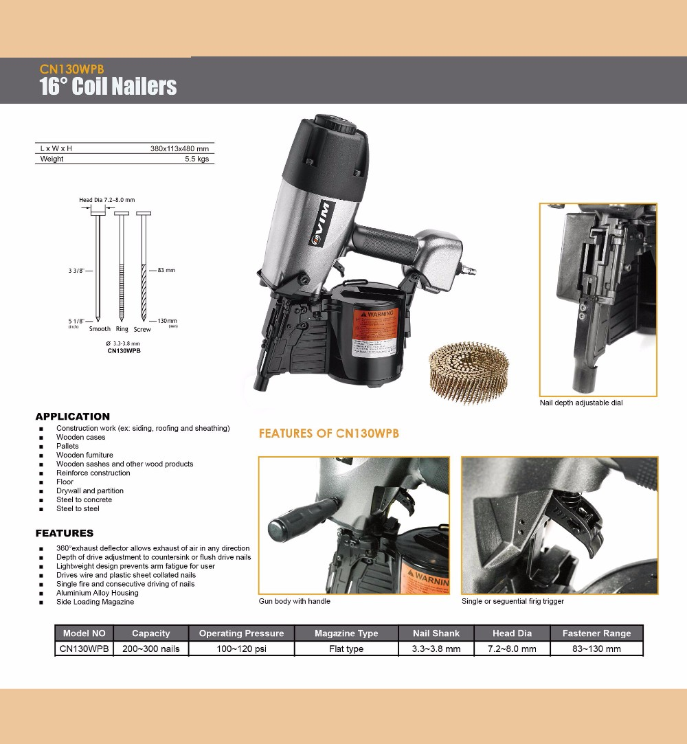 16 Degree Wire & Plastic Sheets 2 in 1 Coil Nailer