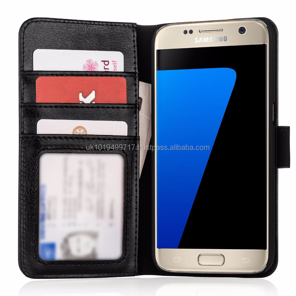 Real Leather ID Wallet Case Cover for Samsung Galaxy S7