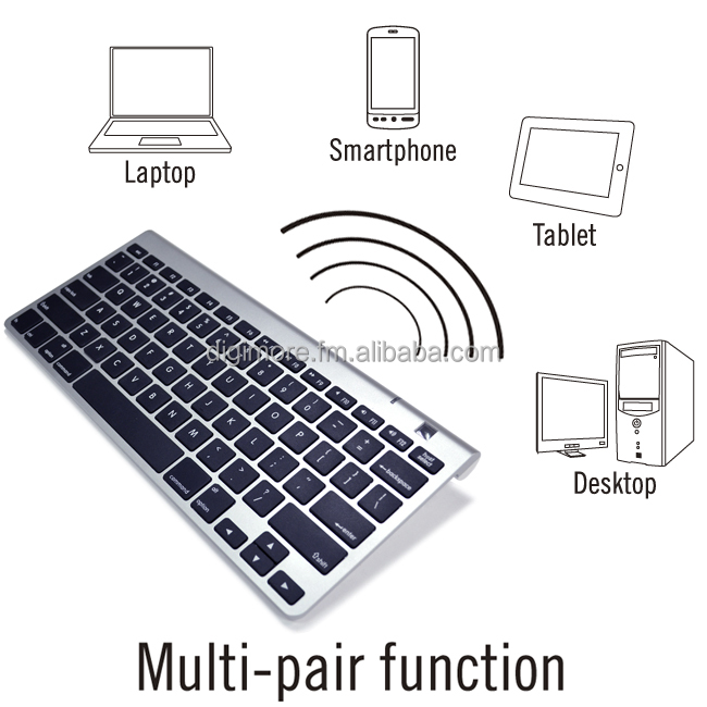 Compact Wireless Bluetooth Multimedia Keyboard for PC Mac & Android, Multi Device