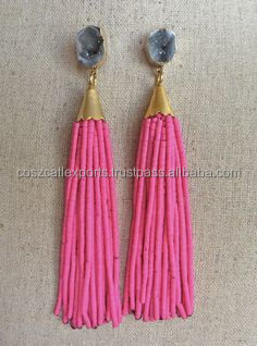 Top quality best selling cheap price tassel earring gemstone jewelry