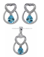 Blue topaz Diamond 10k Gold Tps 6845 pendent set