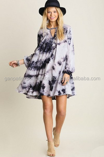 Brand New Design's Sexy Women's Rayon Tie & Dye Kaftan Dress With Neck Cut Out Design