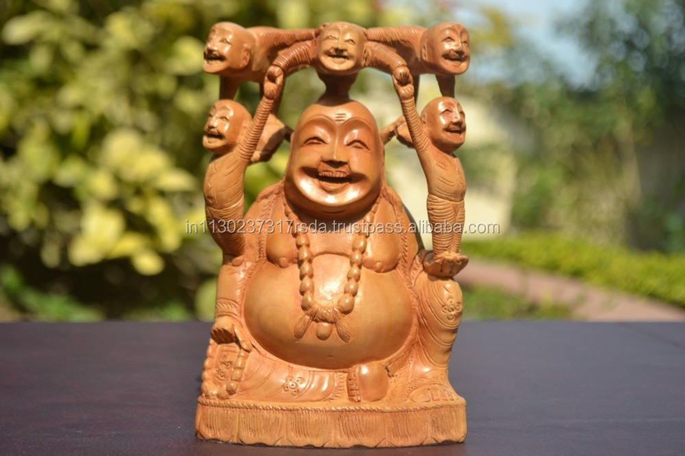 Indian Handicrafts Wood Carved Statue Laughing Buddha Happy Chinese Maitreya Wealth Figurine
