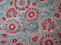 Handmade Indian Sanganeri Print Natural Craft Sewing Fabric Clothing Material