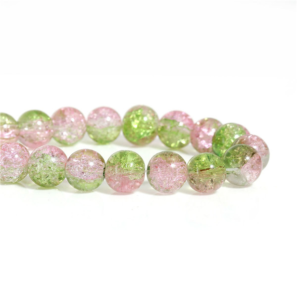Glass Beads Round Pink & Green Flower Pattern About 10mm Dia, <strong>Hole</strong>: Approx 2.0mm, 79.0cm long