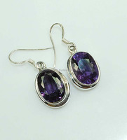 925 Sterling Silver Color Change Alexandrite (Lab) Earring Jewelry DI-3546