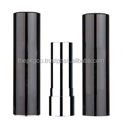 Aluminum lipstick tube with push to release top button (257MA-BL7108)