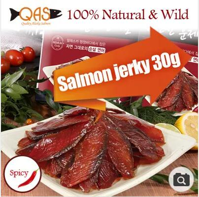 Salmon jerky 30g100% Natural Wild Smoked Dried salmon snacks High protein