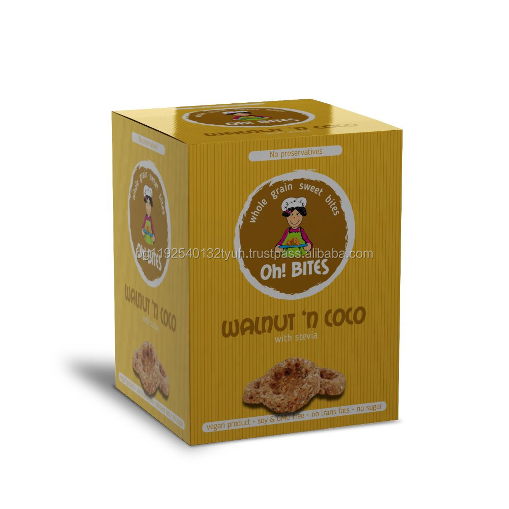 Stevia sweet tasty biscuits with coconut and walnut no preservatives no sugar