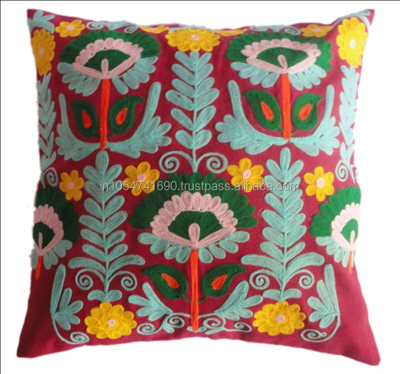 Hand Wool Embroidered Suzani Decorative Cushion Cover Turkish Style Pillow Cover