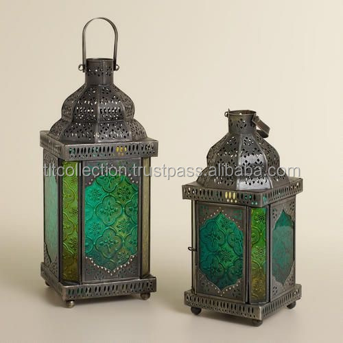 Moroccan garden lantern-Moroccan Home decor Indoor Glass lantern-Wholesale Islamic moroccan candle lantern
