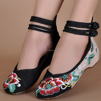 Woman Shoes Chinese Style Casual Old Peking Flats Shoes Soft Sole Hibiscus Flowers Embroidered Walking Cloth Shoes