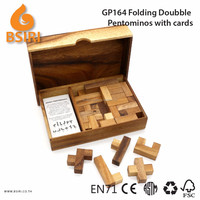 Folding Doubble Pentominoes Game Wooden Games with Cards