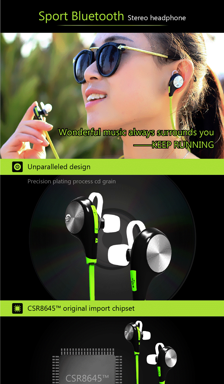 In ear earphone running metal wireless headphone for sports