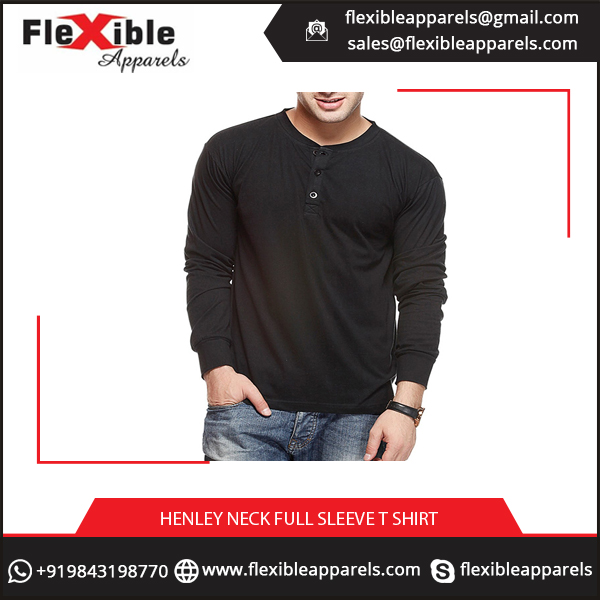 Best Fabric Made Men's Henley Full Sleeve T Shirt at Discounted Rate