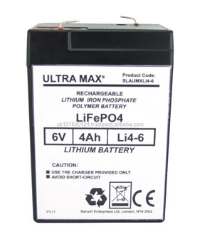 ULTRA MAX Li4-6, 6v 4Ah Lithium Iron Phosphate, Charger Included. L(mm) W(mm) H(mm) 70 47 105.5