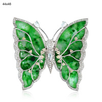 Antique Butterfly Brooches, 18k White Gold Diamond jade Carved Brooches Jewelry, Women Jewelry Supplier