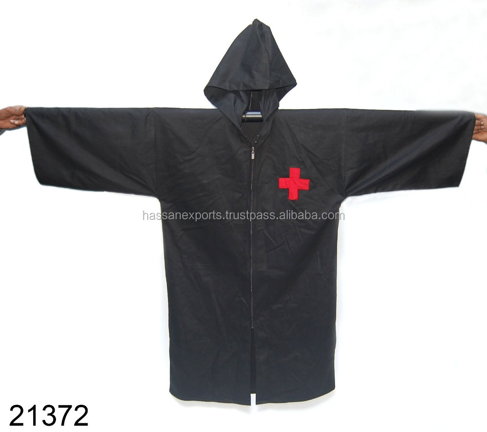 Medieval Costume Black Robe With Cap Red cross on Chest