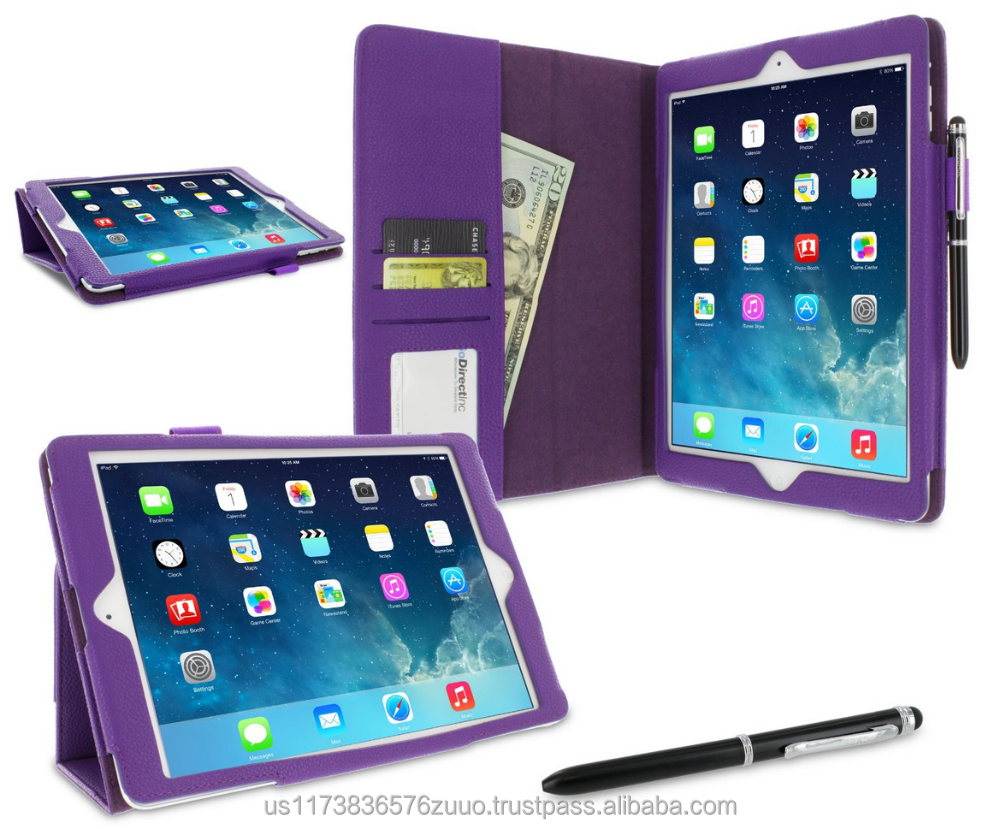 Dual-Station Slim Folding Premium PU Leather Folio Case, Smart Cover Auto Sleep/Wake; for iPad Air 1 roocase (Purple)