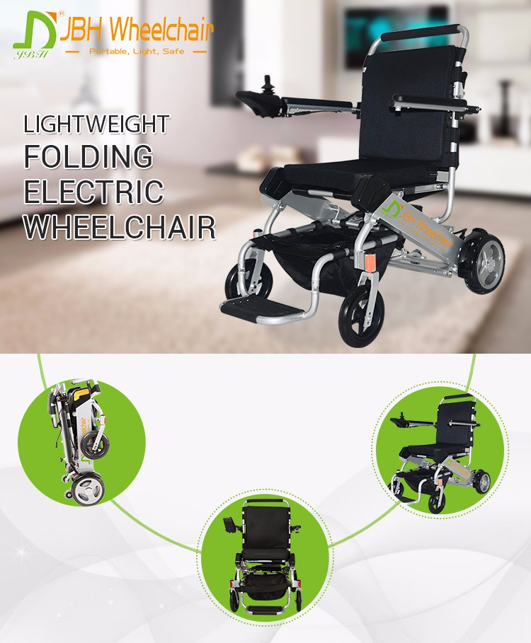 Silver lightweight portable power wheelchair lithium battery wheel chair foldable automatic wheel chairs for people with disable