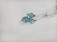 Three piece set Checker Cut Round Beads Of Blue Topaz Semi Precious Gemstone