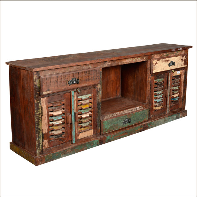 Indian recycled wood 3 drawer 4 door tvc