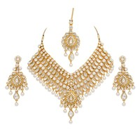 Wholesale New Beautiful Square Shape Pearl Stone Dulhan Necklace Set